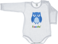 FEEDO dětské body SOVA (modrá), vel. 68