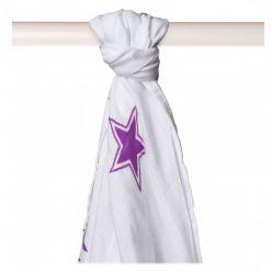 KIKKO Bambusowy ręcznik/pieluszka Stars 90x100 (1 szt.) – lilac