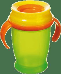 LOVI Hrnček 360˚ JUNIOR 250ml s úchytmi - zelená