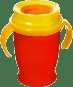 LOVI Hrnček 360˚ JUNIOR 250ml s úchytmi - červená