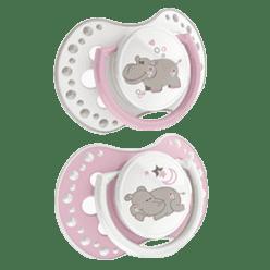 LOVI Smoczek silikonowy, dynamiczny NIGHT&DAY 0-3 mies. 2szt. dziewczynka, hipopotam