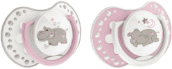 LOVI Dynamiczny smoczek uspokajający silikonowy NIGHT&DAY 3-6m 2 szt. dziewczynka, hipopotam