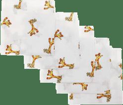 Libštátské pleny Detská bavlnená plienka, 70x70 cm, potlač, 5ks, Žirafa