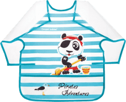 CANPOL Plastový bryndák s rukávky Piráti 24m+ - panda