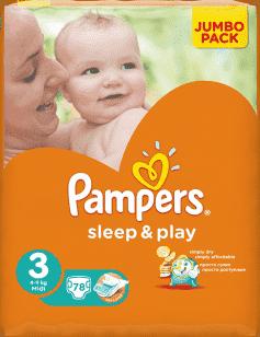 PAMPERS Sleep&Play 3 MIDI (4-9kg) 2x78 (156 szt) JUMBO PACK - pieluszki jednorazowe