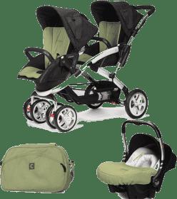 CASUALPLAY Zestaw Wózek dla bliźniąt Stwinner, 2x Fotelik samochodowy Baby 0plus i Torba 2015 - Grap