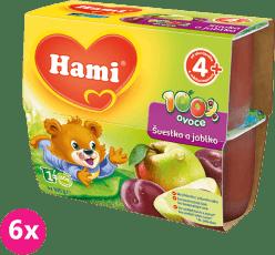 6x HAMI 100% ovocie slivka a jablko 4x100g - ovocný príkrm