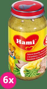 6x HAMI Zelené fazolky a hovězí maso s bramborem (200 g) - maso-zeleninový příkrm