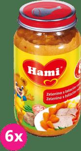 6x HAMI zelenina s teľacím mäsom 200g - mäsovo-zeleninový príkrm