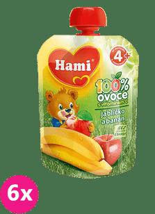 6x HAMI ovocná kapsička Jabĺčko Banán 90g