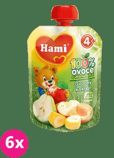 6x HAMI ovocná kapsička Ovocný koktail 90g