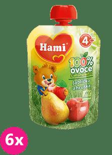 6x HAMI ovocná kapsička Jabĺčko Hruška 90g