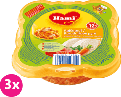 3x HAMI Malý Gurmán Paradajkové pyré s makarónmi a kura 230 g