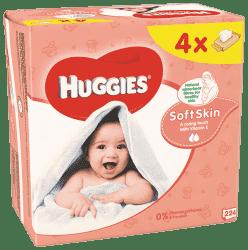 4x HUGGIES® Quatro Pack Soft Skin 56 ks - vlhčené ubrousky
