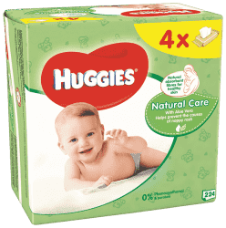 4x HUGGIES® Quatro Pack Natural Care 56 ks - vlhčené obrúsky