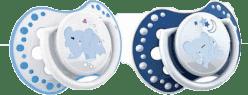 LOVI Cumlík silikónový dynamický NIGHT&DAY 0-3m 2ks modrý sloník