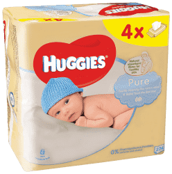 4x HUGGIES® Quatro Pack Pure 56 ks - vlhčené obrúsky