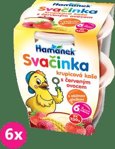 6x HAMÁNEK Svačinka s krupicovou kaší s červeným ovocem (2x130 g)