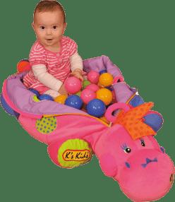 K's Kids różowa panna dinozaur z 60 kolorowymi kulkami PVC