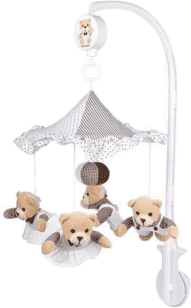 CANPOL Babies Kolotoč plyšový béžovú medvedíky