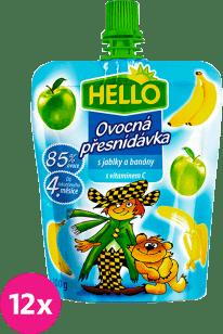 12x HELLO s jablkami a banánmi 100g - ovocný príkrm