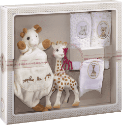 VULLI Môj prvý darčekový set žirafa Sophie, maznáčik a set 3 plienok