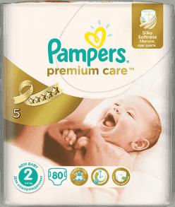 PAMPERS Premium Care 2 MINI 80 szt. (3-6 kg) VALUE pack – pieluszki jednorazowe