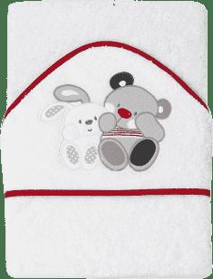 INTERBABY osuška dětská froté 100x100 medvídek s králíčkem přátelé - bílá červený lem
