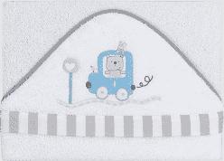 INTERBABY Ręcznik dla dziecka frotte 100x100 auto – niebieski