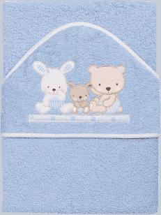 INTERBABY osuška detská froté 100x100 love - modrá