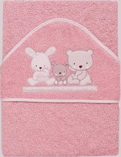 INTERBABY Ręcznik dla dziecka frotte 100x100 love – różowy