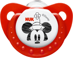 NUK červený Cumlík Trendline DISNEY-Mickey, silikon, veľkosť 2 (6-18m.)