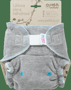 PETIT LULU Tyrkysová hviezda (sivý velúr) - nohavičková plienka sz
