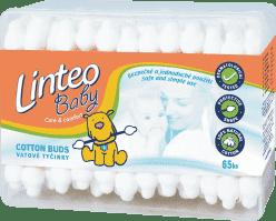 LINTEO BABY – patyczki higieniczne, 65 szt., plastikowe pudełko