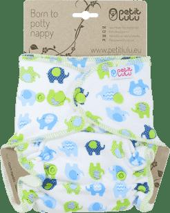 PETIT LULU Sloníci (modro-zelená) - kalhotková plena pat