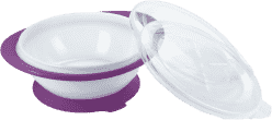 NUK EL Dětská miska se 2 víčky a přísavkou (fialová)