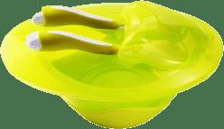 BABY ONO Miska uzavíratelná s lžičkou a vidličkou bez přísavky - žluto-zelená
