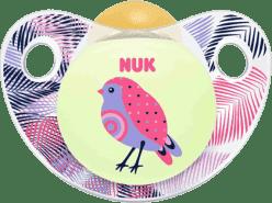 NUK Smoczek Trendline DZIEŃ i NOC, lateksowy, rozmiar 2 (6-18 m.) - różowy ptaszek