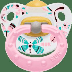 NUK růžový Dudlík Classic HAPPY KIDS, latex, velikost 1 (0-6m.)