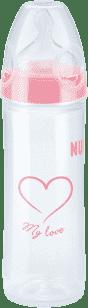 NUK NEW CLASSIC Fľaša LOVE PP 250ml, Silikón, Veľkosť 2, M - ružová