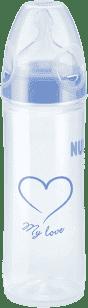 NUK NEW CLASSIC Láhev LOVE PP 250ml,Silikon,Velikost 2,M – modrá