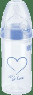 NUK Butelka NEW CLASSIC LOVE PP, 150 ml, silikon, rozmiar 1, M – niebieska