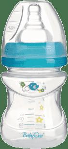 BABY ONO Antykolkowa butelka do karmienia, szerokie gardło, 120 ml, niebieska