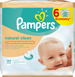 6x PAMPERS Natural Clean 64 ks - vlhčené ubrousky