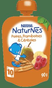 NESTLÉ Naturnes Hruška/Banán/Malina/Cereálie 90g - ovocná kapsička