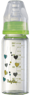 BABY ONO Dojčenská sklenená fľaša Standard 120 ml 0m + zelená