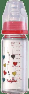 BABY ONO Dojčenská sklenená fľaša Standard 120 ml 0m + červená