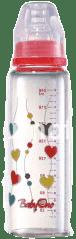 BABY ONO Dojčenská sklenená fľaša Standard 240 ml 0m + červená