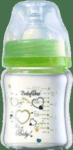 BABY ONO Dojčenská sklenená fľaša Standard 120ml 0m+ zelená