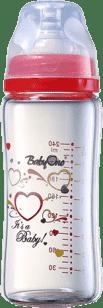 BABY ONO Kojenecká skleněná láhev se širokým hrdlem 260 ml 0m + červená